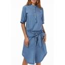 Summer Fashion Button Down Half Sleeve Elastic Bow-Tie Asymmetric Hem Mandarin Collar Denim Shirt Dress