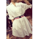 Summer Stylish White V Neck 3/4 Length Sleeve Belt-Waist Mini A-Line Shirt Dress