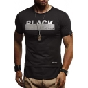 Mens Street Style Letter BLACK Patched Hem Short Sleeve Slim Fitted T-Shirt
