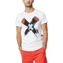 Summer Mens Unique Letter X Print Round Neck Short Sleeve Cotton T-Shirt