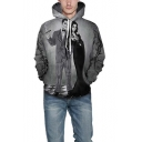 Funny 3D Couple Figure Pattern Long Sleeve Grey Drawstring Hoodie