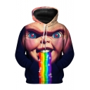 Popular Funny Rainbow Chucky Figure Print Sport Loose Unisex Hoodie