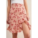 Womens Sexy Floral Print High Waist Split Ruffle Hem Zip-Back Mini A-Line Skirt