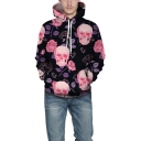 Halloween New Stylish Floral Skull Printed Long Sleeve Casual Drawstring Hoodie