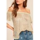 Women Summer Sexy Off Shoulder Short Sleeve Plain Loose Glitter T-Shirt