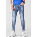 Men's Popular Fashion Denim Washed Letter Printed Rolled Cuffs Light Blue Casual Ripped Jeans