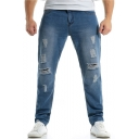 Men's Fashion Plain Vintage Washed Straight Loose Ripped Jeans