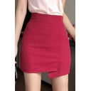 Fashion Sweet Womens High Waist Zip-Back Asymmetric Hem A-Line Mini Skirt