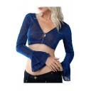 Hot Stylish Plunge V Neck Sequin Embellished Solid Color Button-Front Ruffle Long Sleeve Crop Blouse