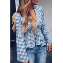 Trendy Womens Check Print Plunge V Neck Long Sleeve Ruffle Trim Self-Tie Fitted Blouse