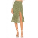 Fashion Summer Polka Dot Button Down Split Ruffle Hem Midi Sweet Skirt for Women