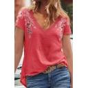 Summer Hot Fashion Floral Embellished V Neck Short Sleeve Loose T-Shirts