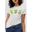 Trendy Womens White Fruit Printed Short Sleeve Round Neck Casual T-Shirt