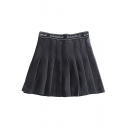 Summer Womens Hot Stylish High Waist Letter Print Pleated A-Line Mini Fitted Skirt