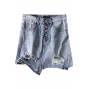 Hot Popular Womens Chic Dusy Blue Button Down Ripped Asymmetric Tassel Hem Mini Denim Skirt
