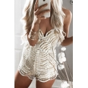 Trendy Womens White Sleeveless Sequin Embellished Crisscross Back Sexy Rompers for Nightclub