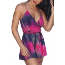 Summer Trendy Sexy Tie Dye Plunge V Neck Sleeveless Tie-Waist Loose Straps Rompers