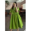 Womens New Trendy Summer Green Short Sleeve Frog Button Flared Mini Babydoll Dress