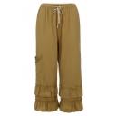 New Stylish Plain Drawstring Waist Pocket Side Layer Ruffle Hem Wide Leg Loose Pants