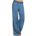 New Arrival Blue Fold Over Elastic Waist Tassel Hem Casual Loose Straight Denim Pants