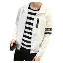 Mens Trendy Simple Letter Printed Long Sleeve Zip Up Hooded Fit Jacket