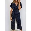 Summer Popular V Neck Short Sleeve High Waist Polka Dot Printed Wide Leg Chiffon Jumpsuits