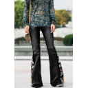 New Arrival Floral Embellished Wide Leg Fitted Boot Cut Denim Pants