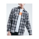Guys Fashion Street Style Plaid Printed Dipped Hem Casual Cotton Over Shirt