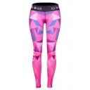 New Trendy Pink Elastic Waist CYM HERO Letter Geometric Printed Slim Fitted Legging Pants