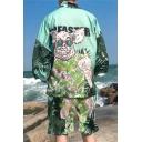 Summer Funny Cartoon Pig Leaf Pattern Sun Protection Kimono Blouse Cardigan