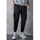 Guys New Fashion Colorblock Tape Side Drawstring Waist Elastic Cuffs Casual Tapered Cargo Pants with Side Pockets