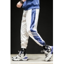 Guys Trendy Colorblock Letter Stripe Printed Elastic Cuffs Hip Pop Casual Track Pants