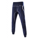 Men's New Stylish Plain Sewing Thread Detail Drawstring Waist Cotton Sweatpants