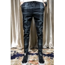 New Stylish Plaid Pattern Black Drawstring Waist Casual Slim Pencil pants for Men