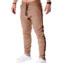 Men's New Fashion Contrast Stripe Side Drawstring Waist Elastic Cuffs Casual Cotton Cargo Pencil Pants