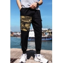 New Fashion Camouflage Patched Double Flap Pocket Front Drawstring Waist Casual Cargo Pants for Men