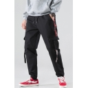 Men's Trendy Letter Printed Tape Side Ribbon Embellished Black Casual Cotton Cargo Pants