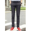 Men's New Fashion Contrast Striped Waist Grey Slim Fitted Casual Dress Pants