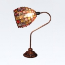 Moroccan Copper Table Light Lattice Dome 1 Light Metal Night Light with Multi-Color Bead for Cafe