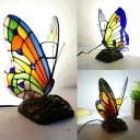 Child Bedroom Butterfly Table Light Stained Glass 1 Bulb Tiffany Stylish Desk Light with Plug-In Cord