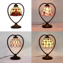 Baroque/Bead/Flower/Lotus Desk Light Single Bulb Tiffany Antique Stained Glass Table Light for Cafe