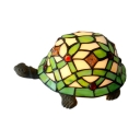 Stained Glass Tortoise Table Light 1 Light Tiffany Vivid Night Light in Green for Boys Bedroom