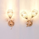 Metal Bud Wall Light Living Room 1/2 Head Luxurious Style Sconce Lamp with Clear Crystal in Gold