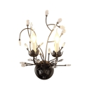 Vintage Style Candle Wall Sconce Metal 2 Heads Black Wall Lamp with Crystal for Stair