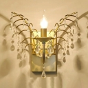 Candle Villa Restaurant Wall Light with Crystal Bead Metal 1 Light Traditional Sconce Light in Gold
