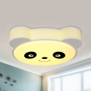 Animal Black/Blue/Pink Ceiling Mount Light Panda Acrylic Third Gear/White Lighting Flush Light for Teen