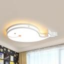 Whale Nursing Room Flush Ceiling Light Acrylic Cartoon Warm/White Lighting Ceiling Lamp in Blue/Pink/White for Kindergarten