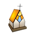 Stained Glass Church Night Light with Cross 1 Light Tiffany Creative Table Light in Yellow for Bar