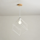 Dining Table Cube Cage Pendant Light Iron 1 Light Industrial Blue/Green/Pink/White Hanging Light
