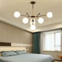 Black Branch Pendant Light 7/13 Lights Modern Style Open Glass Chandelier for Study Room